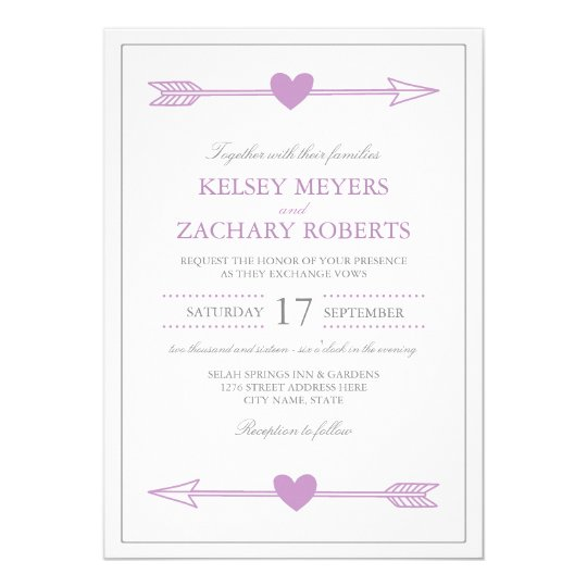 Lovely Arrows Wedding Invitation / Lilac and Grey