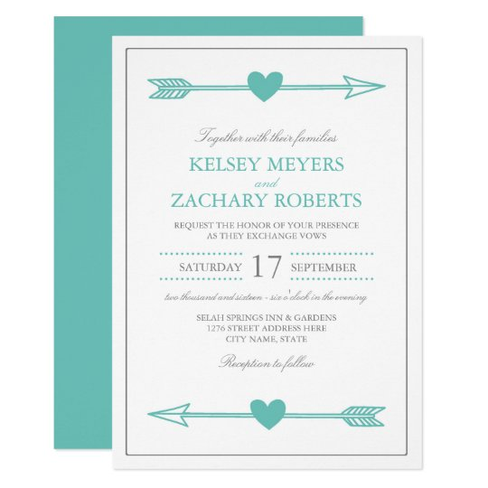 Lovely Arrows Wedding Invitation / Teal and Grey