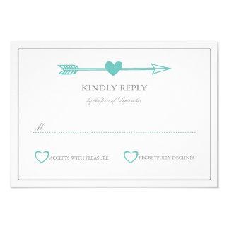 Lovely Arrows Wedding RSVP Card / Teal & Gray 9 Cm X 13 Cm Invitation Card