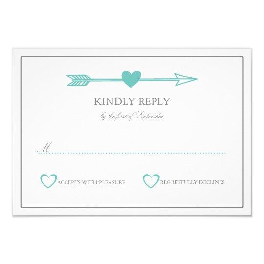 Lovely Arrows Wedding RSVP Card / Teal &