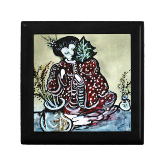 """""""Lovely Asian Lady with Leaf"""" Small Square Gift Box"""