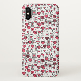 Lovely Assorted Hearts and Icons | iPhone X Case