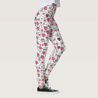 Lovely Assorted Hearts and Icons | Leggings