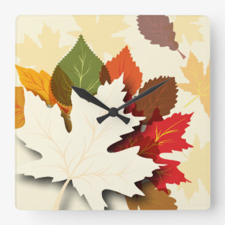 Lovely Autumn Leaves Square Wall Clocks