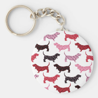 Lovely Bassets Basic Round Button Key Ring