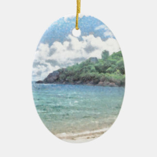 Lovely beach in the Seychelles in the Indian Ocean Ceramic Oval Decoration