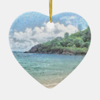 Lovely beach in the Seychelles in the Indian Ocean Ceramic Heart Decoration