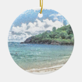 Lovely beach in the Seychelles in the Indian Ocean Round Ceramic Decoration