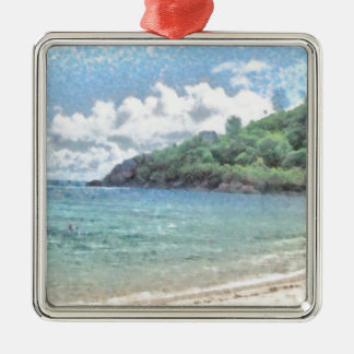 Lovely beach in the Seychelles in the Indian Ocean Silver-Colored Square Decoration