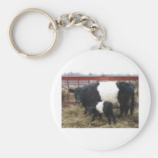 Lovely Beltie Cow and Calf Basic Round Button Key Ring