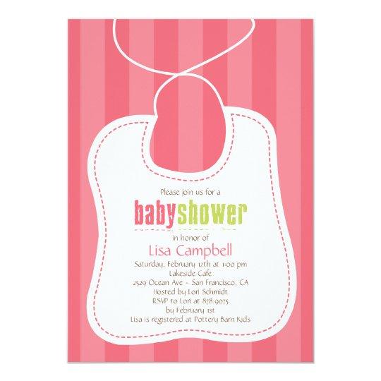Lovely Bib Baby Shower Invitation