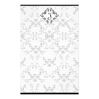 Lovely Black and White Damask Personal Stationery