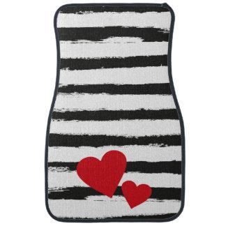 Lovely BLACK Brushstroke STRIPES with 2 Red Hearts Floor Mat
