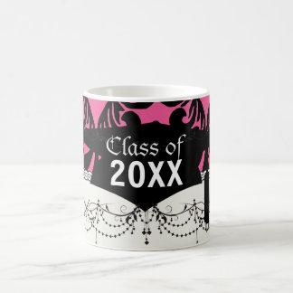lovely black damask bright pink chic graduation basic white mug
