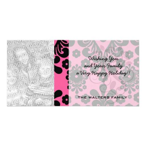 lovely black damask on bright pink chic custom photo card