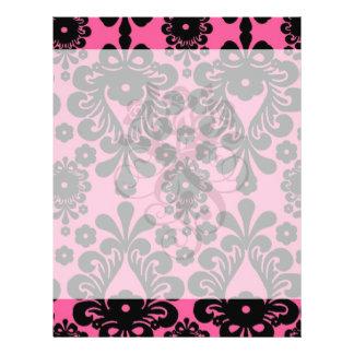lovely black damask on bright pink chic full color flyer