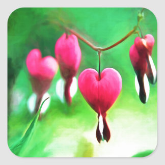 Lovely Bleeding Heart Customizable Square Stickers
