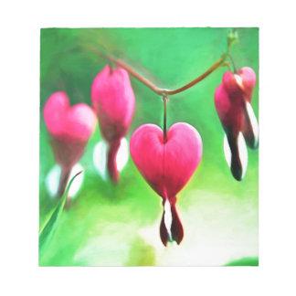 Lovely Bleeding Heart Memo Notepad