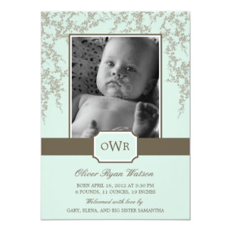 Lovely Blossoms Baby Birth Announcement (Aloe) Custom Announcements