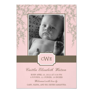 Lovely Blossoms Baby Birth Announcement (Pink) Invitation