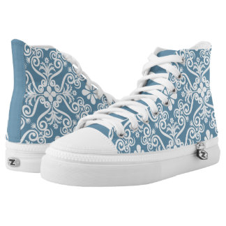 Lovely Blue Damask Pattern by Orchard Three Printed Shoes