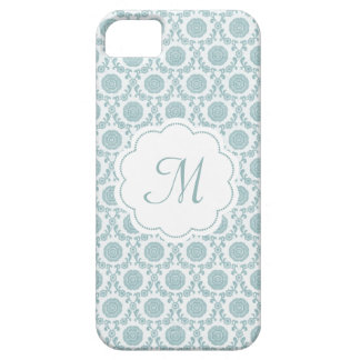 Lovely blue flower phonecase with your monogram iPhone 5 cover