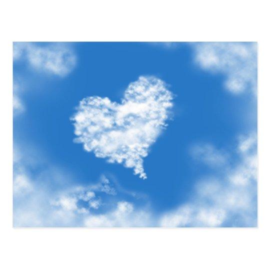 Lovely blue heaven heart shaped sky healing love postcard