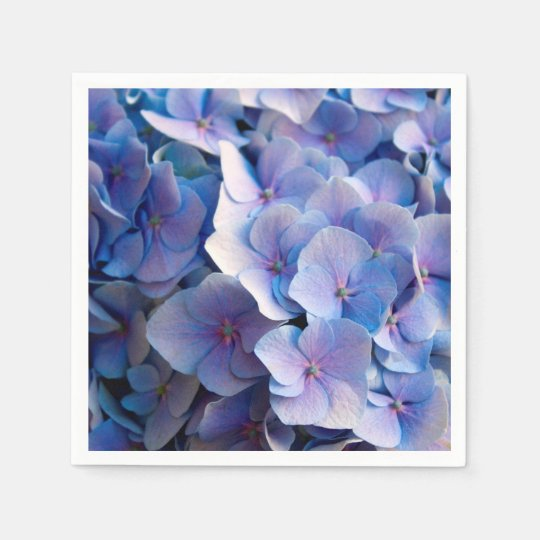 Lovely Blue Hydrangea Blossoms Disposable Serviettes