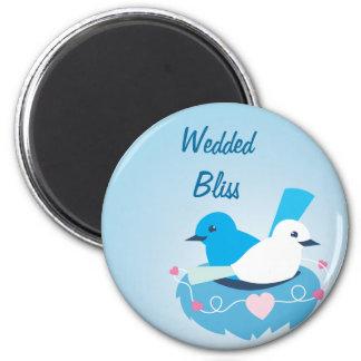 Lovely Blue love birds wren white 6 Cm Round Magnet
