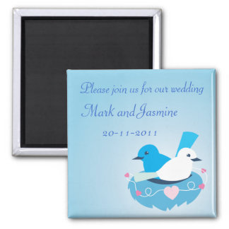 Lovely Blue love birds wren white Square Magnet