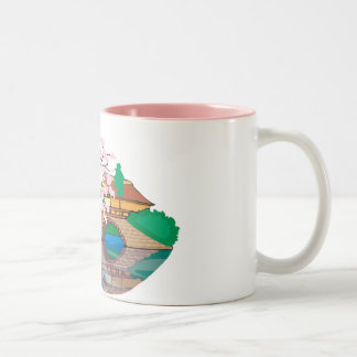 Lovely Bridge and River with Cherry Blossoms Mug