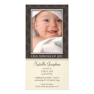 Lovely Bundle of Joy Birth Announcement :: taupe Customised Photo Card