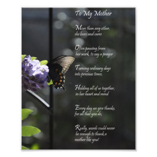 "Lovely Butterfly ""To My Mother"" Thank You Poem Art Photo"