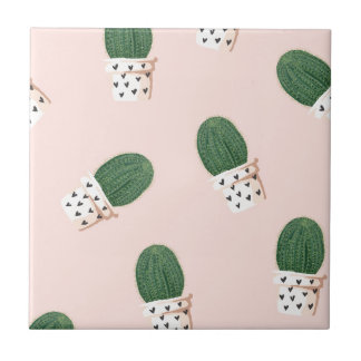 Lovely Cactus Small Square Tile
