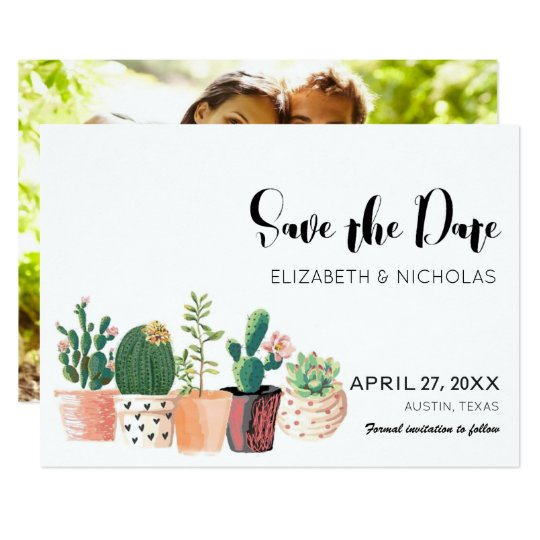 Lovely Cactus Succulent Photo Save The Date Card
