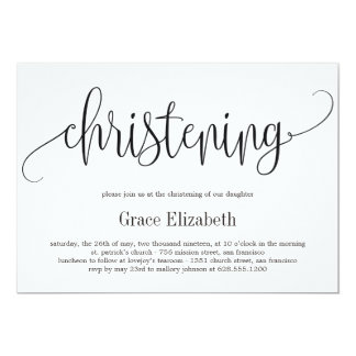 Lovely Calligraphy Christening Invitation