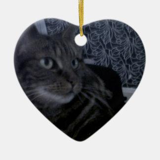 Lovely Cat Blue Ceramic Heart Decoration