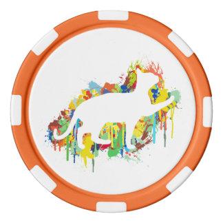 Lovely Cat Colorful Painting Splash Poker Chips