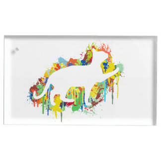 Lovely Cat Colorful Painting Splash Table Card Holder