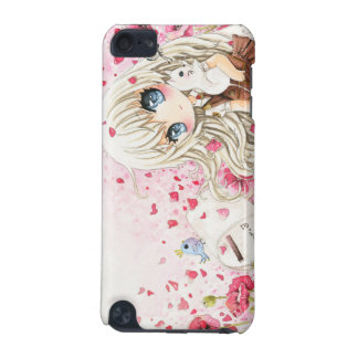 Lovely chibi girl with kawaii white cat iPod touch 5G case