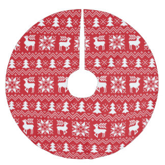 Lovely Christmas Sweater Inspired Red Pattern Brushed Polyester Tree Skirt