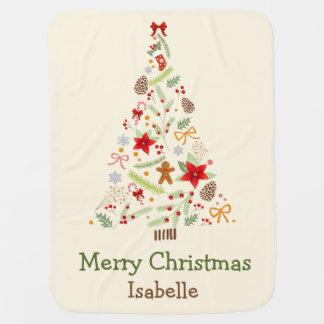 Lovely Christmas Tree Holiday Greetings Blanket Buggy Blanket