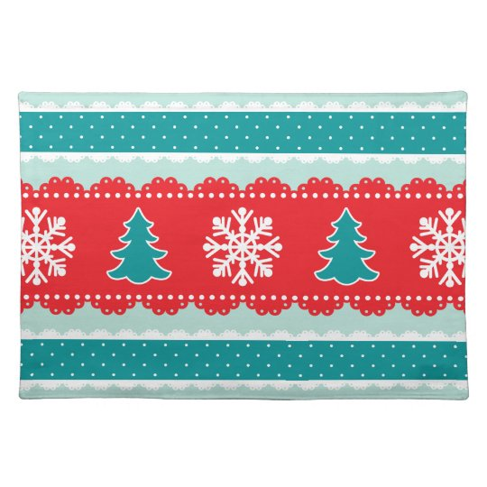 Lovely Christmas Trees Snowflakes Red&Teal Design Placemats
