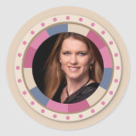 lovely Circle frame - 'Beige Rose' on beige Round Sticker