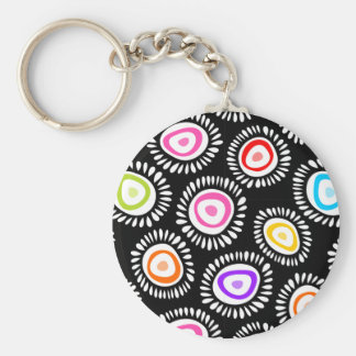 Lovely colorful funky flowers Keychain