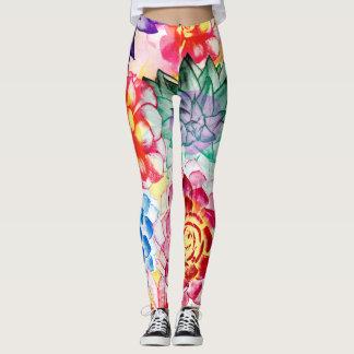 Lovely Colorful Succulent Plant Pattern Leggings