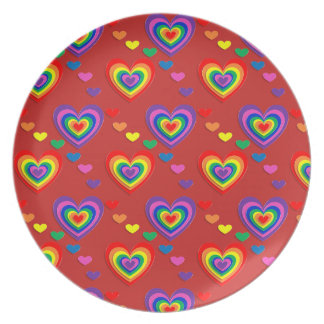 Lovely Colourful hearts Melamine Plate