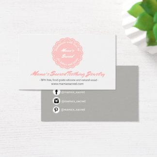 Lovely Coral Pink Rosette Handmade Custom Business Card