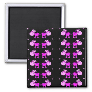 lovely cows pink square magnet