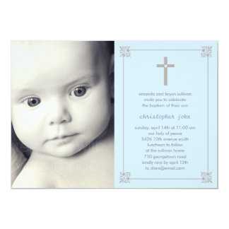 Lovely Cross Photo Baptism/Christening Invitation
